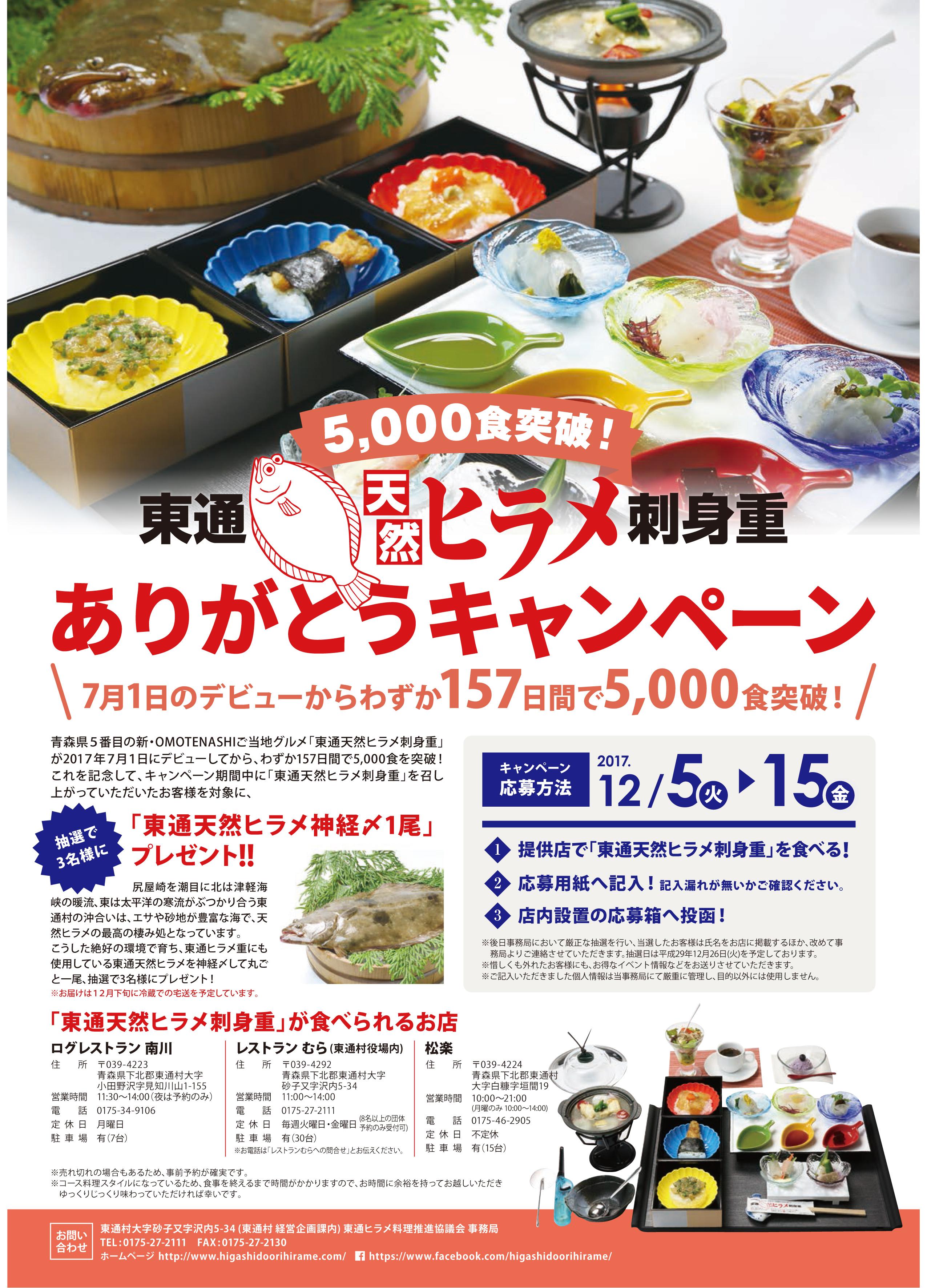 東通天然ヒラメ刺身重5,000食突破!ありがとうキャンペーン